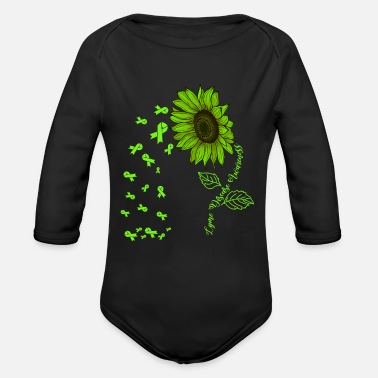 Borreliosis Lyme disease Awareness Green Ribbon Sunflower - Organic Long-Sleeved Baby Bodysuit