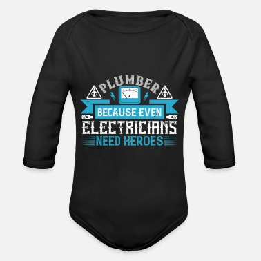 Evening Electronics Technician - Electricians Need Heroes - Organic Long-Sleeved Baby Bodysuit