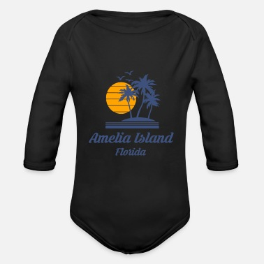 City-state Amelia Island Beach Florida Fl City State Tourist - Organic Long-Sleeved Baby Bodysuit