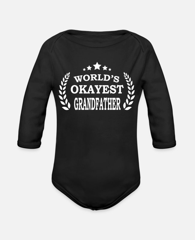 Grandpa Baby One Pieces - bday present idea for grandfathers - Organic Long-Sleeved Baby Bodysuit black