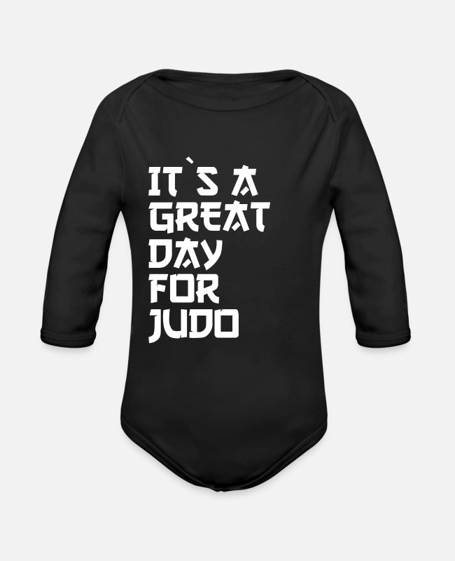 Krav Maga Baby One Pieces - it is a great day for judo - Organic Long-Sleeved Baby Bodysuit black
