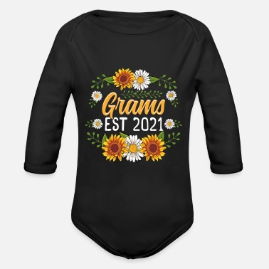 Grams Est 2021 Cute Sunflower Gifts New Grams - Organic Long-Sleeved Baby Bodysuit