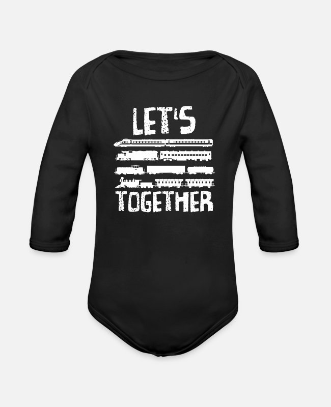 Training Baby One Pieces - Train - Organic Long-Sleeved Baby Bodysuit black