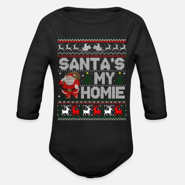 Santa'S My Homie Christmas Ugly Sweater - Organic Long-Sleeved Baby Bodysuit