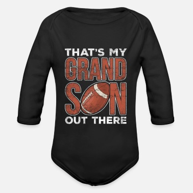 Grandson Football Football Grandparents Football Player Grandson - Organic Long-Sleeved Baby Bodysuit