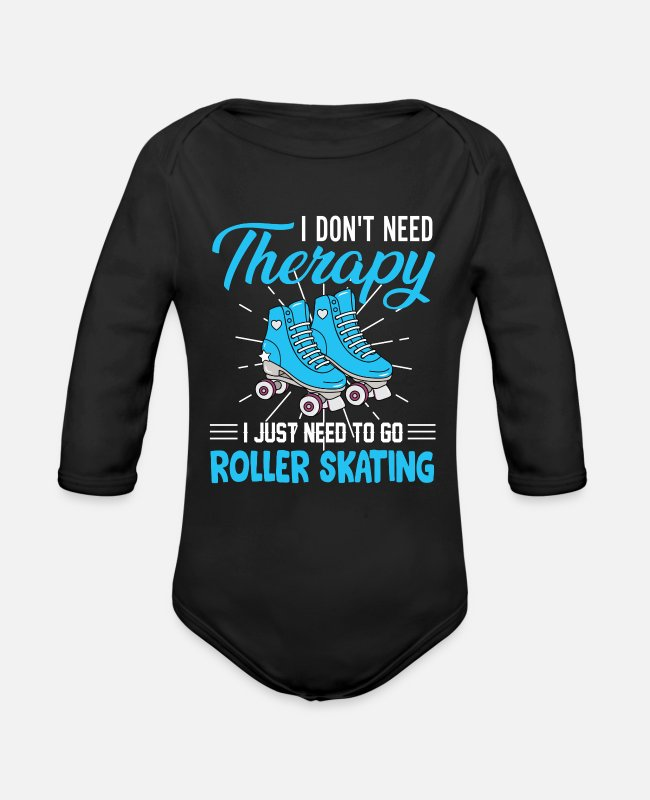 Roller Skate Baby One Pieces - Roller Skates Roller Derby Roller Girl Gift - Organic Long-Sleeved Baby Bodysuit black