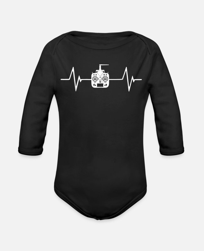 RC Baby One Pieces - Love Rc Hobby Heartbeat Quadcopter Plane Rotor - Organic Long-Sleeved Baby Bodysuit black