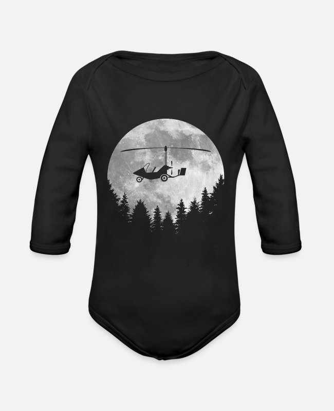 Pilot Baby One Pieces - Gyroplane - Organic Long-Sleeved Baby Bodysuit black