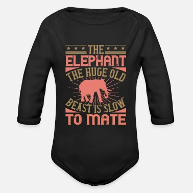 Lovable Elephant Quote - 40 - Organic Long-Sleeved Baby Bodysuit