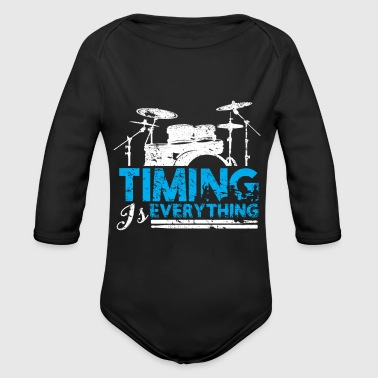 Timing is Everything Drummer Gift Birthday - Organic Long Sleeve Baby Bodysuit