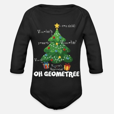 Funny Math Teacher Funny Math Teacher Christmas Geometree - Organic Long-Sleeved Baby Bodysuit