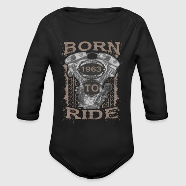 Born to Ride motorcycle 1963 - Organic Long Sleeve Baby Bodysuit