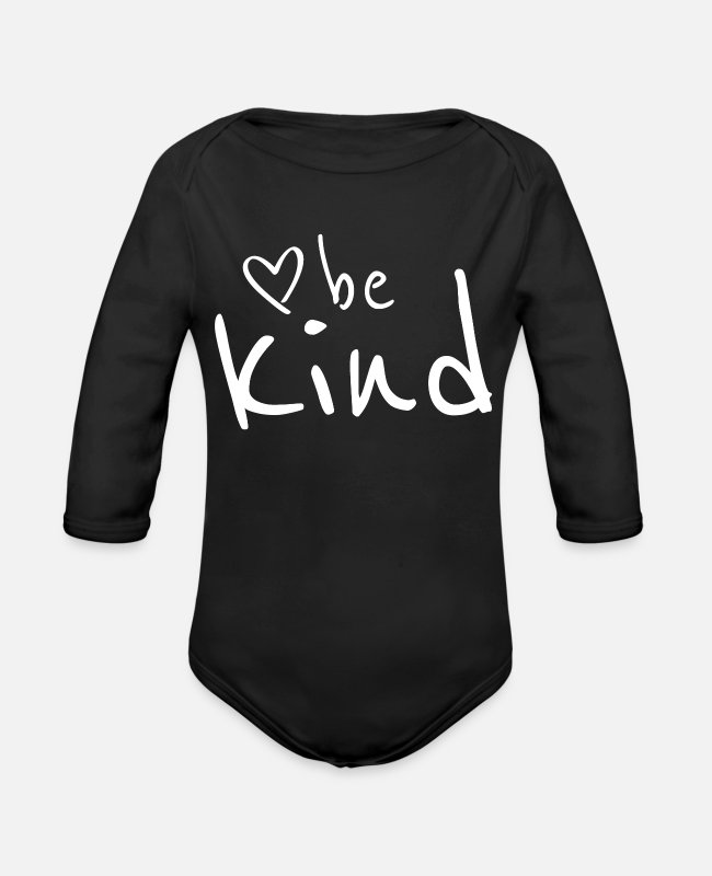 Trendy Baby One Pieces - BE KIND - Organic Long-Sleeved Baby Bodysuit black