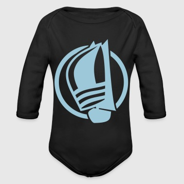 Sailing logo with sailing boat - Organic Long Sleeve Baby Bodysuit