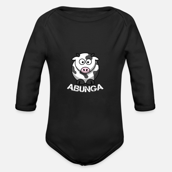 Cow Baby Clothing - Cow-Abunga - Organic Long-Sleeved Baby Bodysuit black