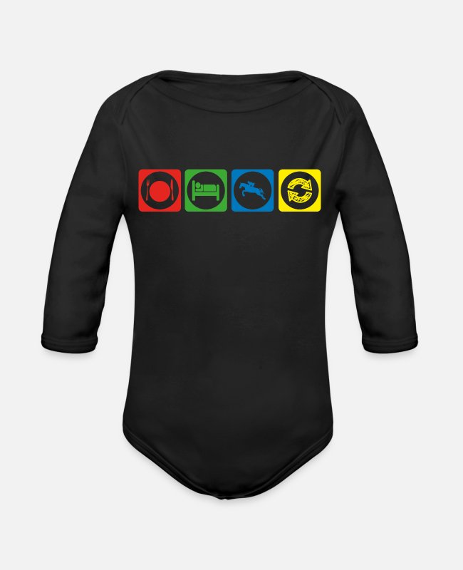 Heart Baby One Pieces - geschenk eat sleep repeat reiten reiter riding hor - Organic Long-Sleeved Baby Bodysuit black