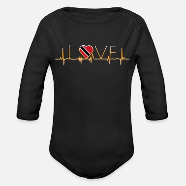 Trinidad And Tobago home roots heimat love heart from Trinidad Tobago - Organic Long Sleeve Baby Bodysuit