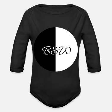 B W Minimalistic black and white B&W - Organic Long-Sleeved Baby Bodysuit