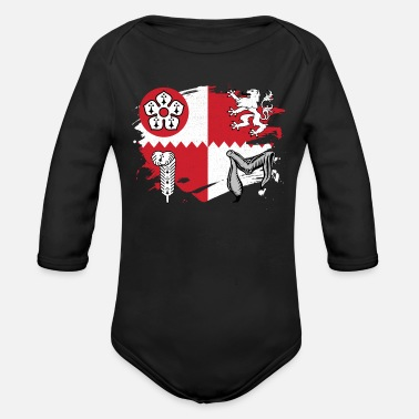 Leicestershire Leicestershire Flag Paint Splatter Design - Organic Long-Sleeved Baby Bodysuit