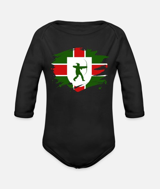 Mansfield Baby One Pieces - Nottinghamshire Flag Paint Splatter Design - Organic Long-Sleeved Baby Bodysuit black