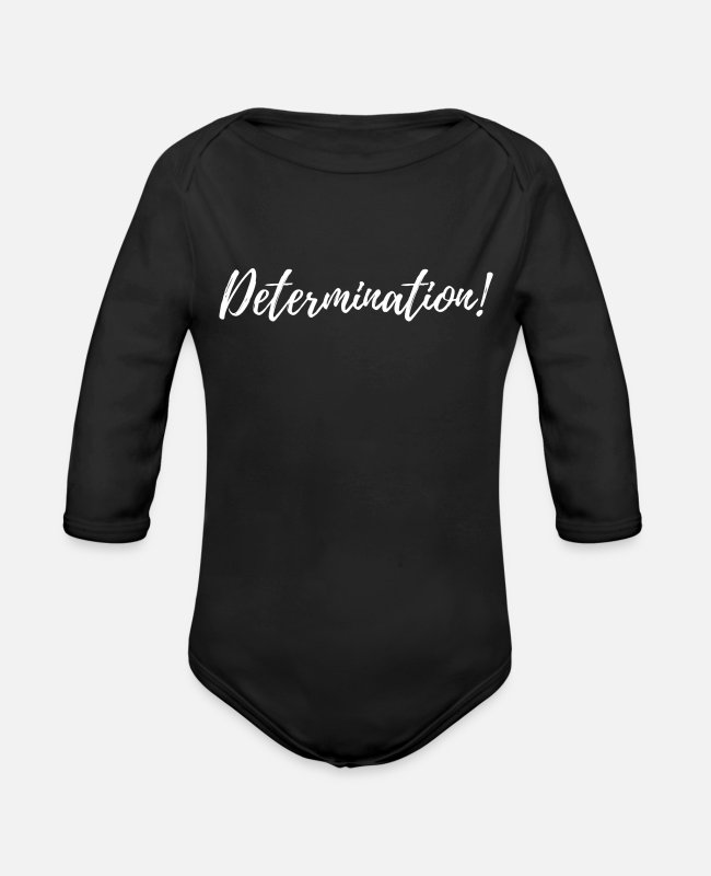 Design Baby One Pieces - Determination - Organic Long-Sleeved Baby Bodysuit black