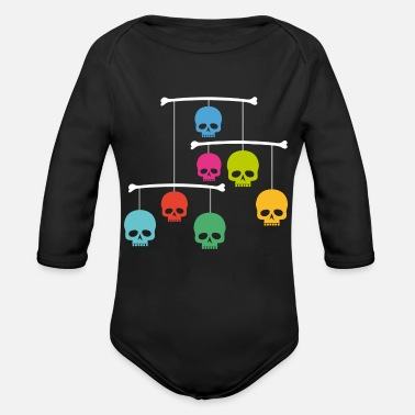 Mobile Mobile with Skulls - Organic Long Sleeve Baby Bodysuit