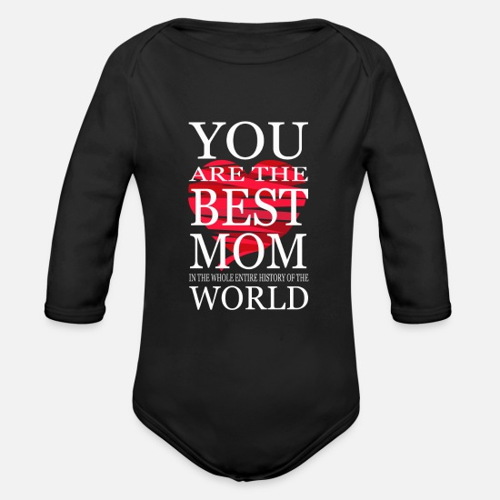 Mummy Baby Clothing - Mother's Gift Mami Day Mother Mother's Day Gift - Organic Long-Sleeved Baby Bodysuit black