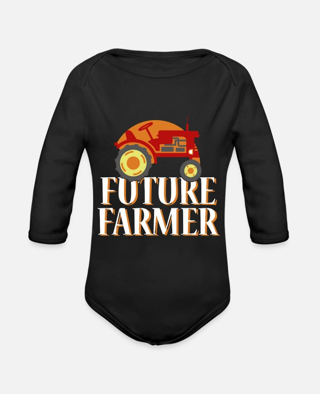 V8 Baby One Pieces - Tractor Farmer Gift Shirt Cool Trecker Farmer - Organic Long-Sleeved Baby Bodysuit black