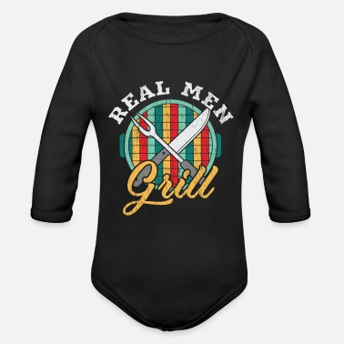 Fire Real men barbecue - Vintage Style - Organic Long-Sleeved Baby Bodysuit