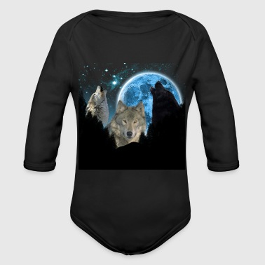 Wolves Twilight Blue Moon C.png - Organic Long Sleeve Baby Bodysuit