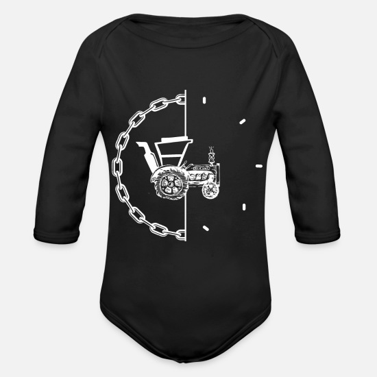 Tractor Baby Clothing - tractor pulling - Organic Long-Sleeved Baby Bodysuit black