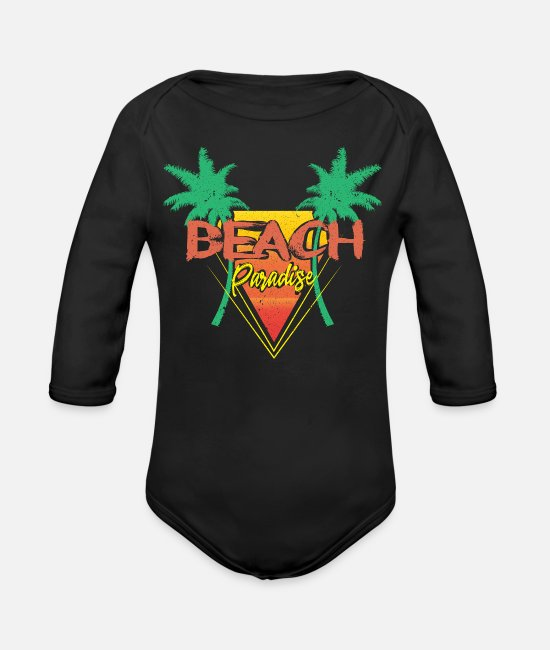 Beach Baby One Pieces - Beach Vacation - Organic Long-Sleeved Baby Bodysuit black