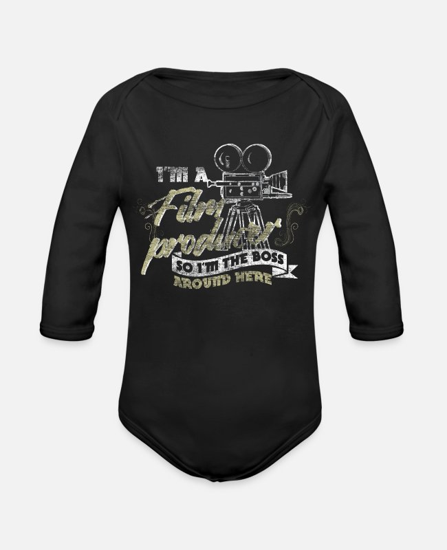 Movie Baby One Pieces - Film producer - Organic Long-Sleeved Baby Bodysuit black