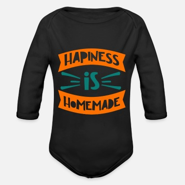 King Quote - Happiness Homemade - Bright - Organic Long-Sleeved Baby Bodysuit