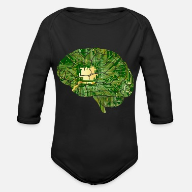 Brain brain - Organic Long Sleeve Baby Bodysuit