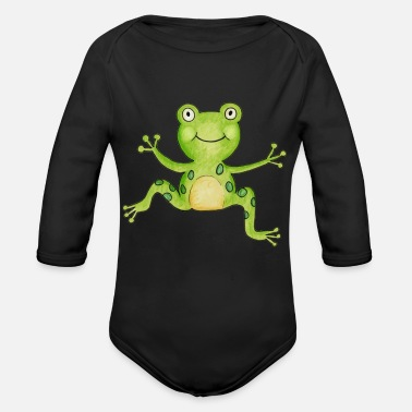 Frog Animal Drawing Artwork Design Cute Gifts - Organic Long-Sleeved Baby Bodysuit