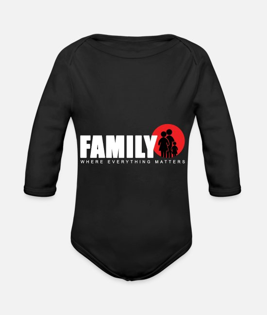 Family Trip Baby One Pieces - Family day Family crest Family lover holiday gift - Organic Long-Sleeved Baby Bodysuit black