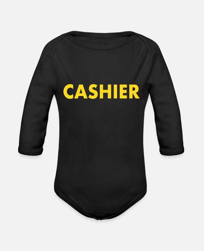 Sale Baby One Pieces - Cashier job - Organic Long-Sleeved Baby Bodysuit black