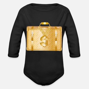 Deluxe golden luxury suitcase with golden dollar sign - Organic Long-Sleeved Baby Bodysuit