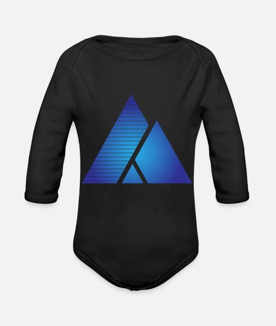 Hipster Baby One Pieces - Geometric triangles - Organic Long-Sleeved Baby Bodysuit black