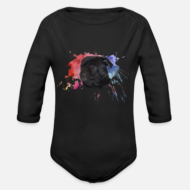 Paint Splatter Pug Paint Splatter - Organic Long Sleeve Baby Bodysuit