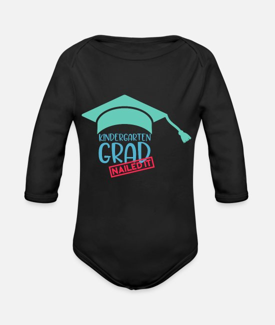 First Day Of Baby One Pieces - Kindergarten Grad Nailed It - Organic Long-Sleeved Baby Bodysuit black