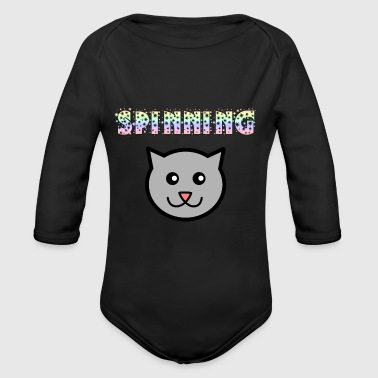 Spin Spinning Cat - Organic Long Sleeve Baby Bodysuit