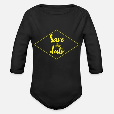 Date Save The Date - Organic Long-Sleeved Baby Bodysuit