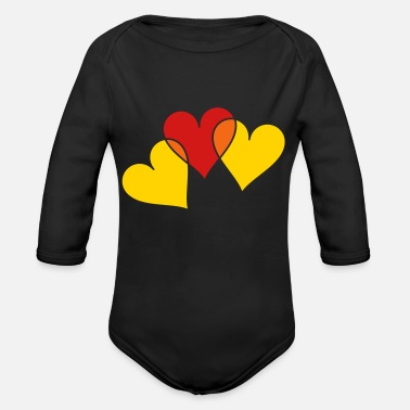 Transparent Transparent Hearts - Organic Long-Sleeved Baby Bodysuit