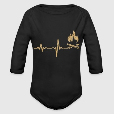 Tinder gift heartbeat campfire camping - Organic Long Sleeve Baby Bodysuit