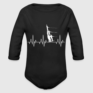 Heartbeat Water Ski Water Sports - Organic Long Sleeve Baby Bodysuit