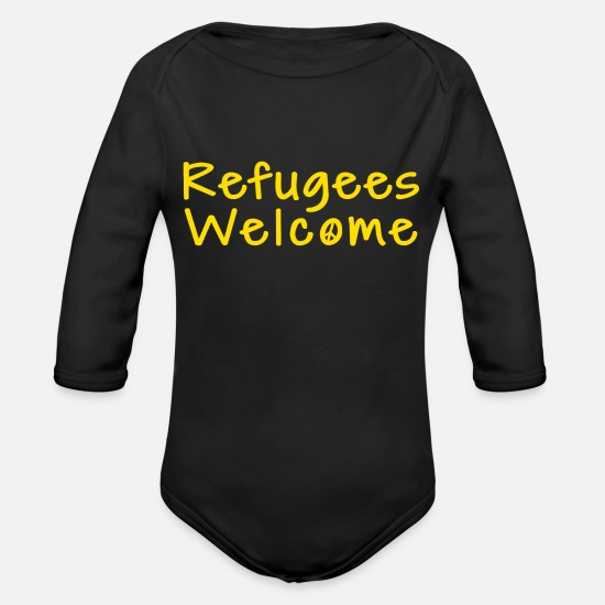 Refugees Welcome Baby Clothing - refugees welcome shirt - Organic Long-Sleeved Baby Bodysuit black