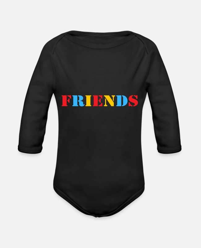 Friends Tv Show Baby One Pieces - Friends - Organic Long-Sleeved Baby Bodysuit black