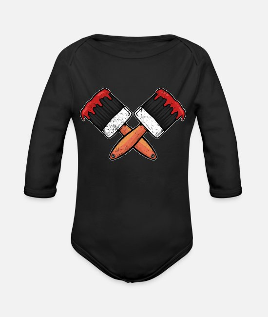 Artist Baby One Pieces - Paint Brush Painter - Organic Long-Sleeved Baby Bodysuit black